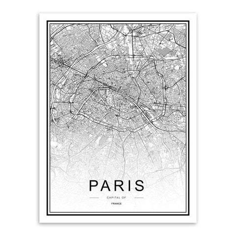 Image of Black and White World City Map Paris London New York Poster Nordic Style Living Room Wall Art Picture Home Decor Canvas Painting