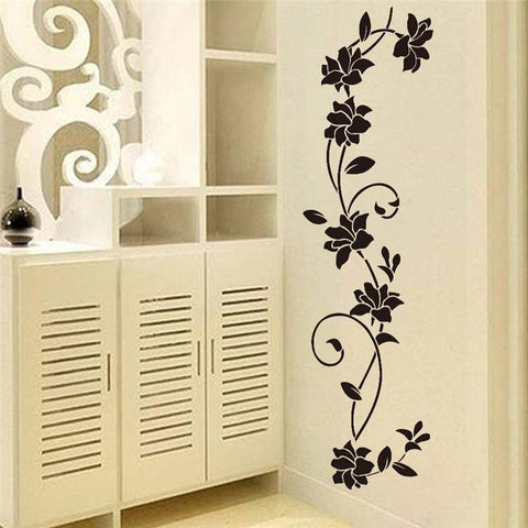 Image of Black flower Vine Wall Stickers Refrigerator Window cupboard Home Decorations Diy Home Decals Art Mural Posters Home Decor
