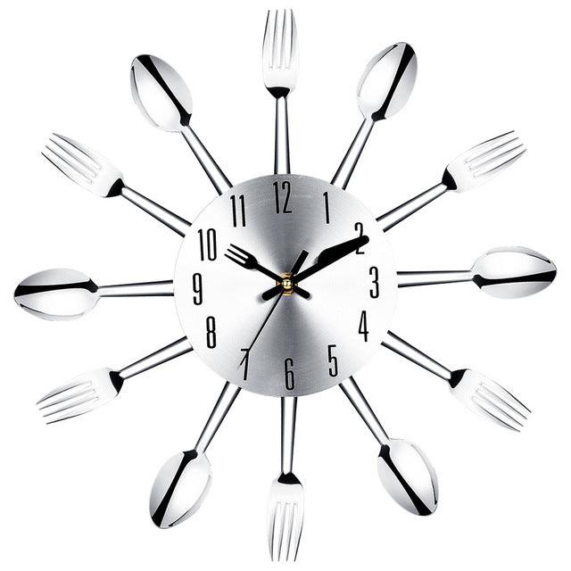 Brief Modern Large Wall Clock Stainless Steel Wall Magic Spoon Fork Quartz Needle 3D Clock Living Room Home Decor