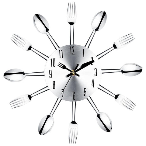 Image of Brief Modern Large Wall Clock Stainless Steel Wall Magic Spoon Fork Quartz Needle 3D Clock Living Room Home Decor