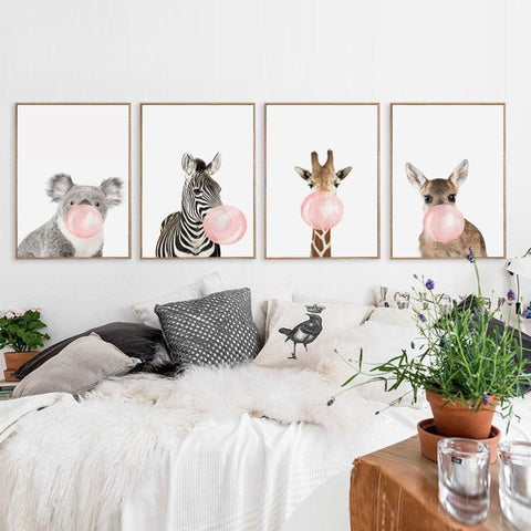 Image of Bubble Chewing Gum Giraffe Zebra Animal Posters   Canvas Art Painting Wall Art Nursery Decorative Picture Nordic Style Kids Deco