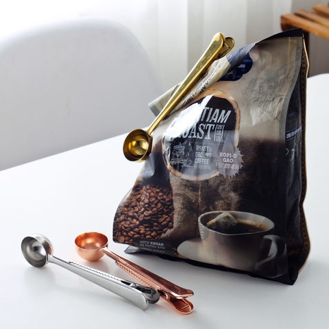 Image of Stainless Steel Ground Coffee Tea Measuring Scoop Spoon With Bag Seal Clip Fruit Vegetable Scoops Tools