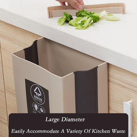 Image of Folding Waste Bin Kitchen Cabinet Door Hanging Trash Bin Trash Can Wall Mounted Trashcan for Bathroom Toilet Waste Storage