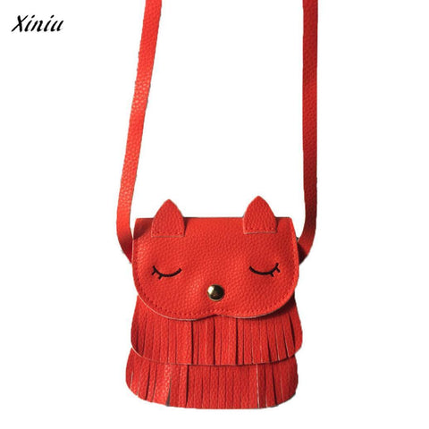 Image of Kids cat purse wallets for children Cute pattern tassel Bags Shoulder Bag