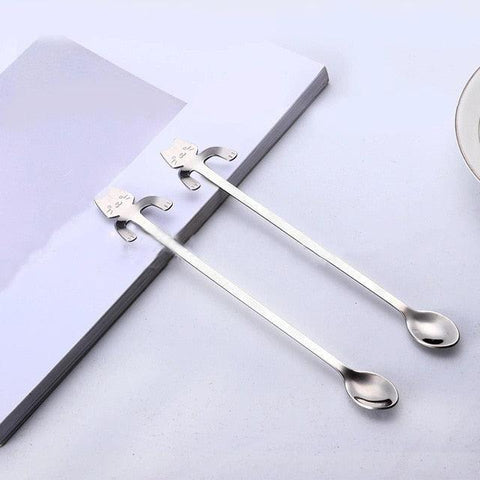 Image of CARRYWON Coffee Spoon Tea Spoon Small Mini 304 Stainless Steel Cat Gold Teaspoon Dessert Spoon Long Honey Handle Tableware