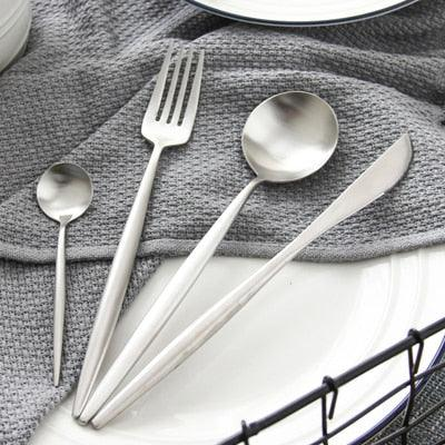 Image of CHANOVEL 4 Pcs/Set Colorful Dinnerware Set 304 Stainless Steel Western Cutlery Set Kitchen Food Tableware Dinner Set