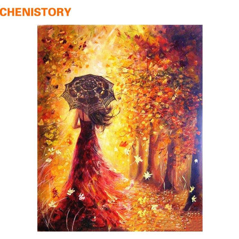 Image of CHENISTORY Beautiful Women Autumn Landscape DIY Painting By Numbers Kits Coloring Paint By Numbers Modern Wall Art Picture Gift