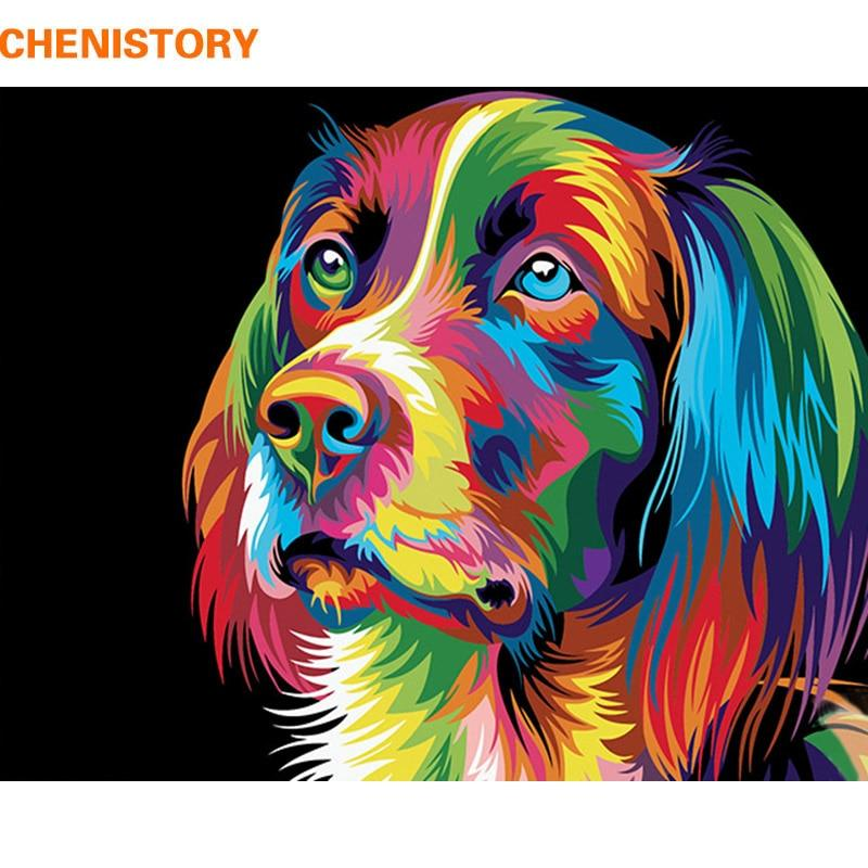 CHENISTORY Dogs Animals DIY Painting By Numbers Kits Acrylic Paint On Canvas Handpainted Oil Painting For Home Decor 40x50cm Art