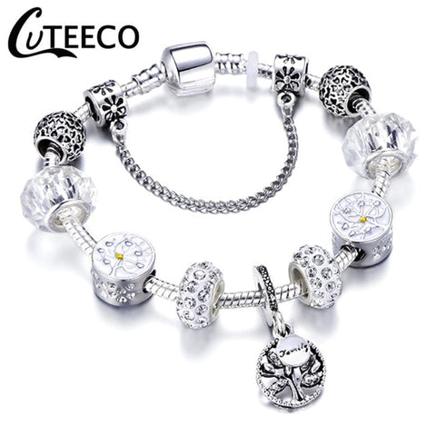 CUTEECO 925 Fashion Silver Charms Bracelet Bangle For Women Crystal Flower Fairy Bead Fit Brand Bracelets Jewelry