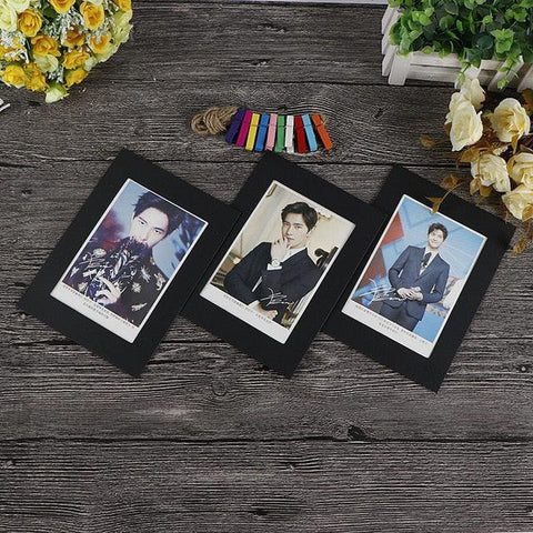 Image of Cadre Photo Frame With Clips And Rope 3/4/5/6/7 Inch Wall Hanging Banner Photo Frame DIY Picture Album Home Wedding Decoration