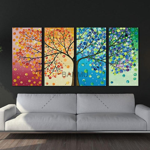 Image of Canvas painting poster Colourful Leaf Trees 4 Piece painting Wall Art Modular pictures for Home Decor wall art picture painting