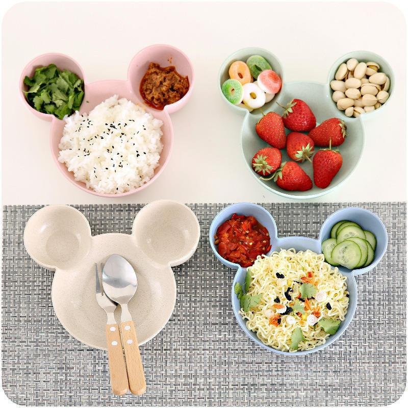Carrywon Plate Children Kids Cute Cartoon Mouse Bowl Dishes Baby Feeding Bowl Dinner Lunch Food Container Lunch Box	Camping