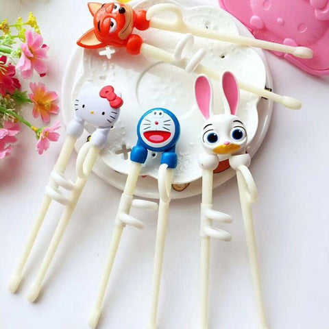 Image of Cartoon Hello Kitty Children Practice Chopsticks Baby Learning Educational Training Chopsticks Dinnerware D8