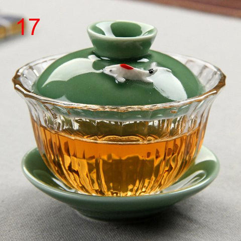 Image of Chinese traditions gai wan tea set Bone China Tea Sets Dehua gaiwan tea porcelain pot set for travel Beautiful and easy kettle