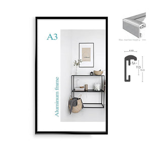 "Classic minimalist aluminum 8.5x11"" 20x30cm  A4  A3 poster frame for wall hanging metal photo frame certificate frame"
