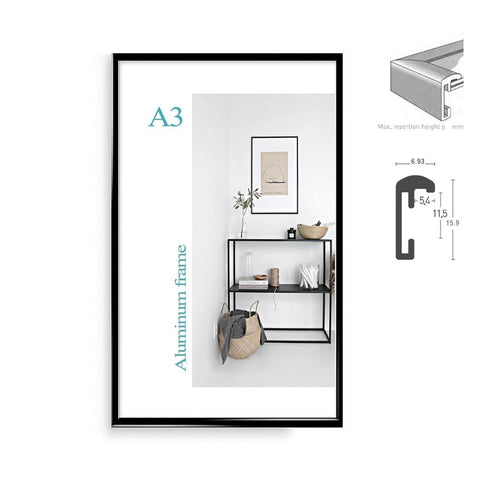 "Image of Classic minimalist aluminum 8.5x11"" 20x30cm  A4  A3 poster frame for wall hanging metal photo frame certificate frame"