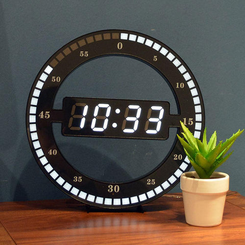 Image of Creative Mute Hanging Wall Clock Black Circle Automatically Adjust Brightness Digital Led Display Desktop Table Clock