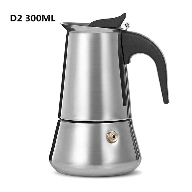 D# 100/200/300/450ML Stainless Steel Coffee Pot Moka Coffee Maker Teapot Mocha Stovetop Tool Filter Percolator Cafetiere Z20