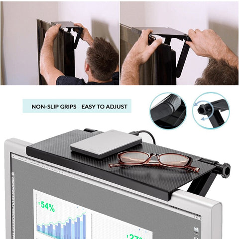 Image of Durable TV Screen Caddy Top Shelf Desktop Storage Rack Environmental Kit Stand TV Rack Display Shelf Storage Desk