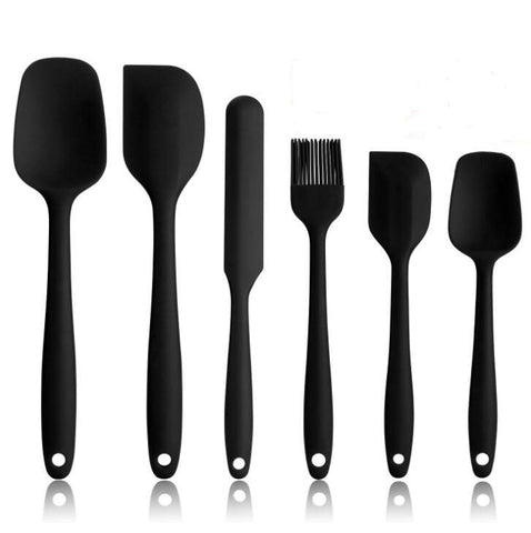 Image of 6 Pcs Spatula Sets BPA Free Silicone Scrapers Spoon Non-Stick Silica Cake BBQ Heat Resistant Flexible Scraping Baking Tools