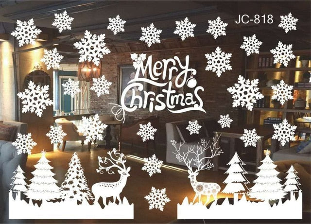 DIY Merry Christmas Wall Stickers Decoration Santa Claus Gifts Tree Window Wall Stickers Removable Vinyl Wall Decals Decor