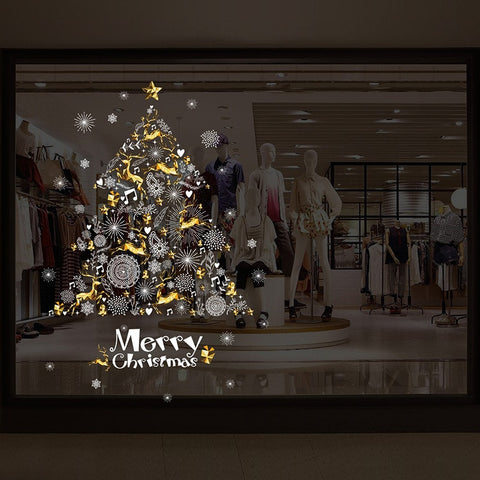 Image of DIY Merry Christmas Wall Stickers Decoration Santa Claus Gifts Tree Window Wall Stickers Removable Vinyl Wall Decals Decor