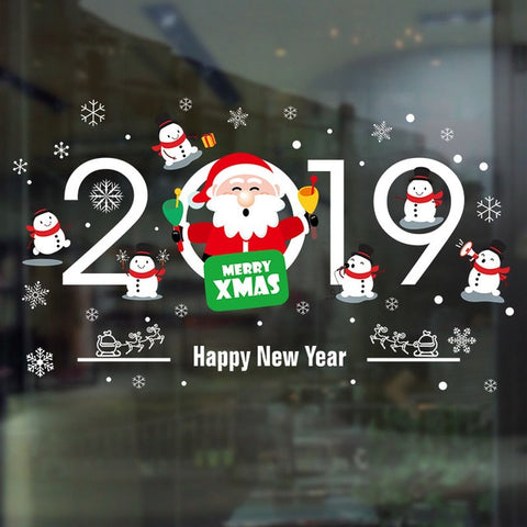 Image of DIY Merry Christmas Wall Stickers Window Glass Festival Decals Santa Murals New Year Christmas Decorations for Home Decor