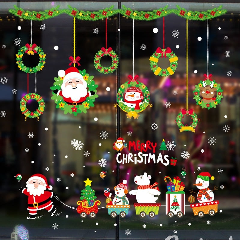 DIY Merry Christmas Wall Stickers Window Glass Festival Decals Santa Murals New Year Christmas Decorations for Home Decor