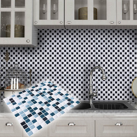 Image of DIY Mosaic Tile Kitchen wallpaper 3D Wall Stickers Home Decor Waterproof PVC Bathroom Decorative Self Adhesive Kitchen Stickers