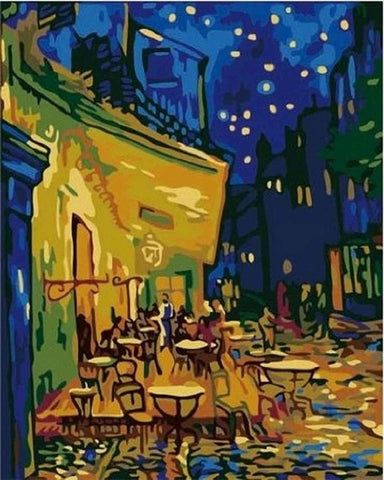 Image of DIY Oil Painting by Numbers on Canvas with Frame Coloring by Numbers Pictures Drawing Home Decor Starry Night by Van Gogh P-0001