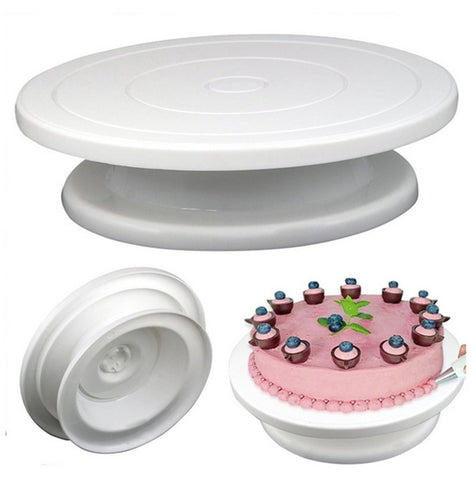 Image of DIY Pan Baking Tool Plastic Cake Plate Turntable Rotating Anti-skid Round Cake Stand Cake Decorating Rotary Table Kitchen
