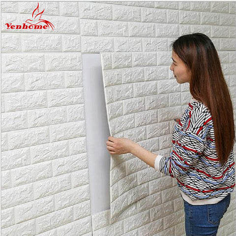Image of DIY Self Adhensive 3D Brick Wall Stickers Living Room Decor Foam Waterproof Wall Covering Wallpaper For TV Background Kids Room