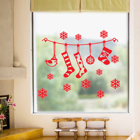 Image of DIY White Snow Christmas Wall Stickers Window Glass Festival Decals Santa Murals New Year Christmas Decorations for Home Decor