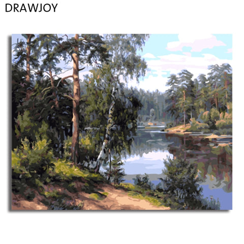 Image of DRAWJOY Landscape Framed Painting By Numbers Wall Art DIY Canvas Oil Painting Home Decor For Living Room GX7799 40*50cm