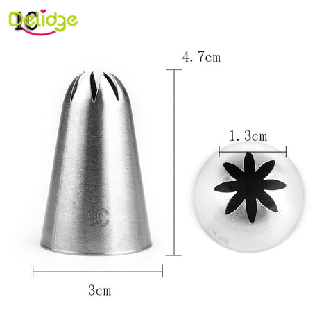 Image of Delidge 12 Shapes Cake Nozzle Stainless Steel Icing Piping Nozzles Cream Beak Pastry Puff Cream Injector Cake Decorating Tool