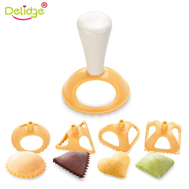 Delidge 4pcs/set Plastic Dumpling Molds 4 Shapes Dumpling Press Tool Chinese jiaozi Kitchen Tool Cooking Pastry Dumpling Mold