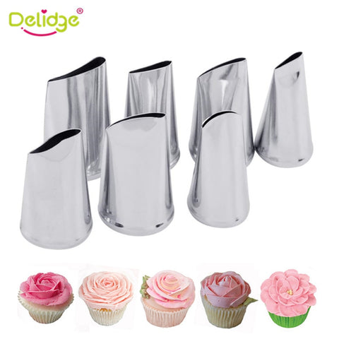 Image of Delidge 7pcs/set Cake Decorating Tips Set Cream Icing Piping Sugarcraft Rose Nozzle Pastry Tools Fondant Decorating Tools