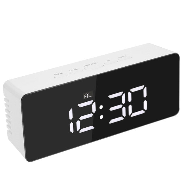 Digital LED Display Desktop Digital Table Clocks Mirror Clock 12H/24H Alarm and Snooze Function Thermometer Adjustable Luminance