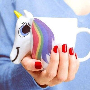 3D Ceramic Unicorn Coffee Cup Mug Rainbow Hair Appears when Hot