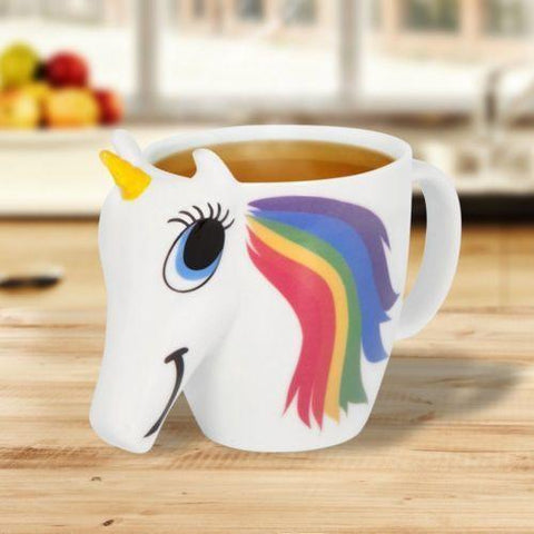 Image of 3D Ceramic Unicorn Coffee Cup Mug Rainbow Hair Appears when Hot