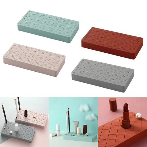 Image of 18-Grid Silicone Lipstick Storage Rack Cosmetics Storage Box Multi-grid Innovative Display Stand Makeup Holder Home Organizer