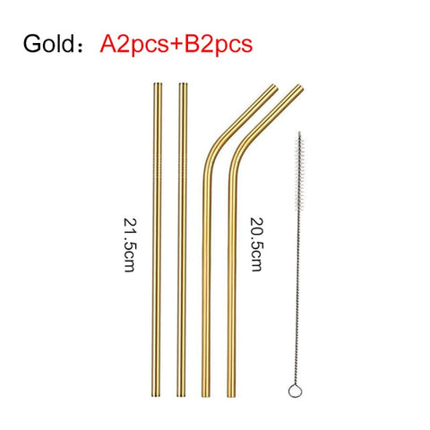 Image of EIMAI 4Pcs Colorful 304 Stainless Steel Straws Reusable Drinking Straw High Quality Bent Metal Straw with Cleaner Brush A01