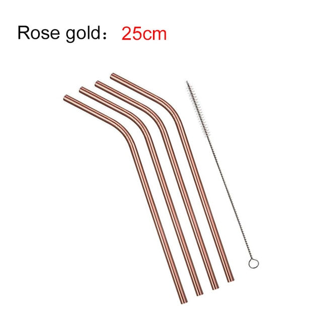 EIMAI 4Pcs Colorful 304 Stainless Steel Straws Reusable Drinking Straw High Quality Bent Metal Straw with Cleaner Brush A01