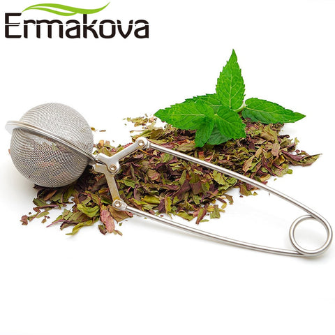 Image of ERMAKOVA Tea Strainer High Quality Convenient Stainless Steel Handle Tea Mesh Ball Filter Stable Tea Ball Strong Tea Infuser