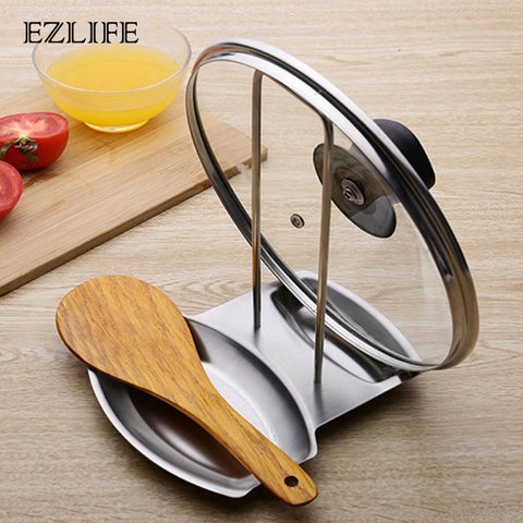 EZLIFE Pan Pot Cover Lid Rack Stainless Steel Spoon Holder Pot Lid Shelf Cooking Dish Rack Pan Cover Stand Kitchen Accessories