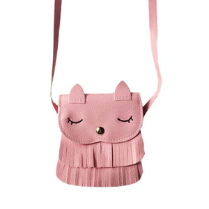 Kids cat purse wallets for children Cute pattern tassel Bags Shoulder Bag