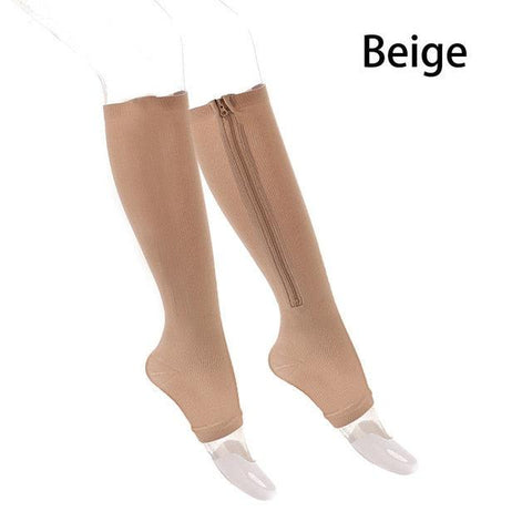 1 Pair Unisex Compression Socks Zipper Leg Support Knee Socks Women Men Open Toe Thin Anti-Fatigue Stretchy Socks