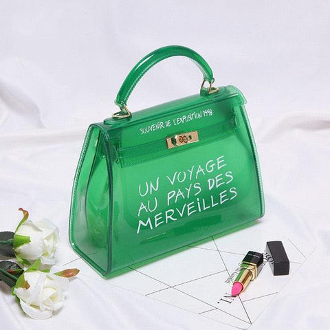 Clear Transparent PVC Shoulder Bags Women Candy Color Women Jelly Bags Purse Solid Color Handbags