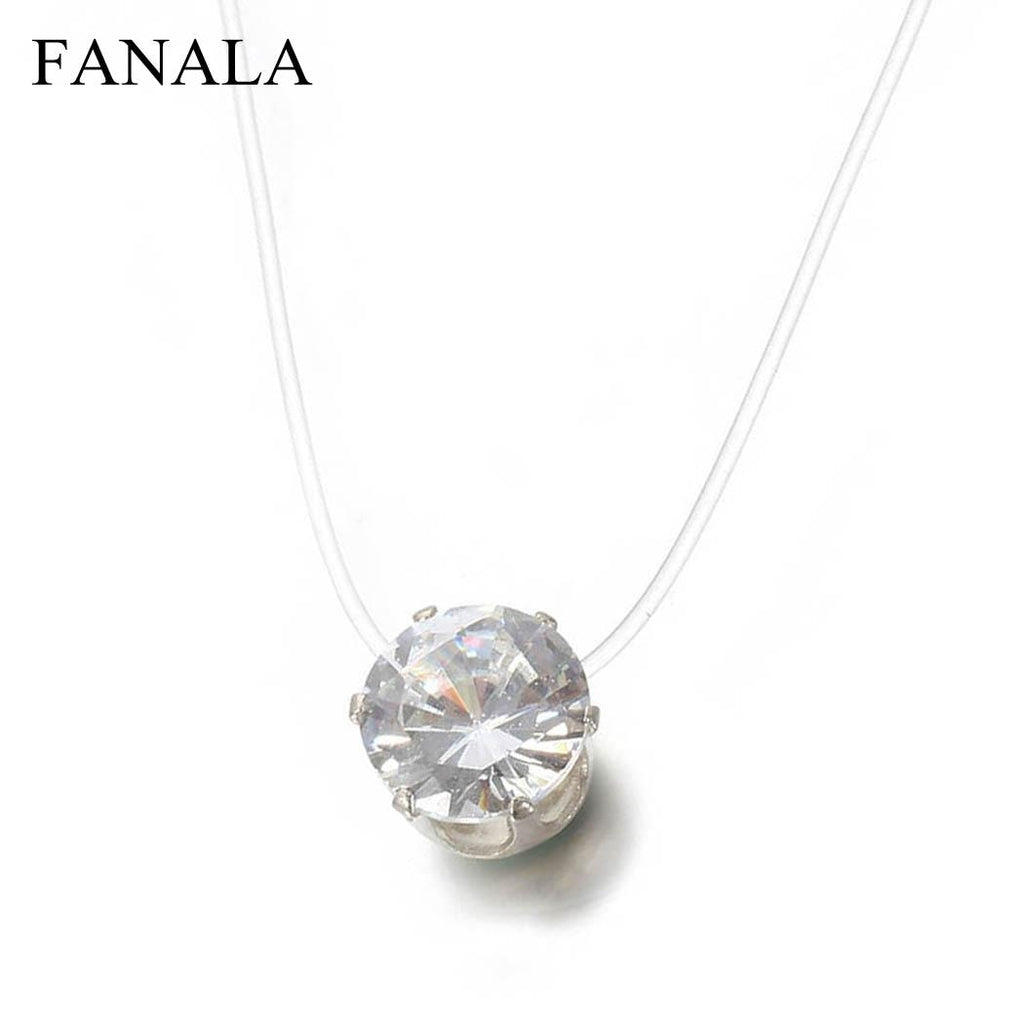 FANALA Necklace Women Invisible Rhinestones Transparent Fishing Line Chain Pendant Necklaces Fashion Jewelry collier femme