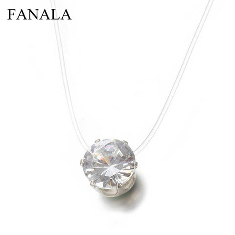 Image of FANALA Necklace Women Invisible Rhinestones Transparent Fishing Line Chain Pendant Necklaces Fashion Jewelry collier femme